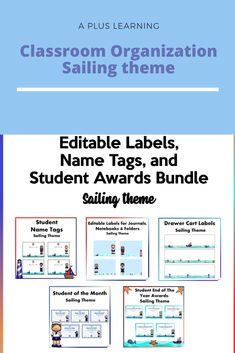 Classroom Fun, Classroom Organization, Classroom Management, Sailing Theme, Summer Classes, Student Awards, Name Tags, School Resources, Getting Organized