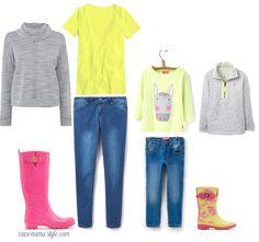 Mama and me. Mini me style. Cocomamastyle blog's half term style inspiration for mums and children with grey sweatshirts, neon and denim.