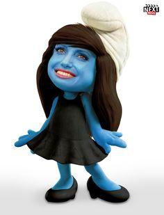 Smurfelina Jolie http://www.nextmovie.com/blog/movie-stars-smurfed/ #AngelinaJolie #Smurfs