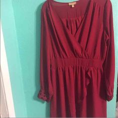 Red dress Semi- low cute/ Ruffled front/ stretchy/ above knee/ long sleeve/ beaded cuffs Dresses Long Sleeve