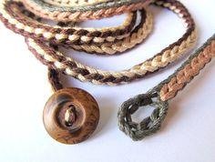 Crochet wrap bracelet or necklace in brown tan and por CoffyCrochet