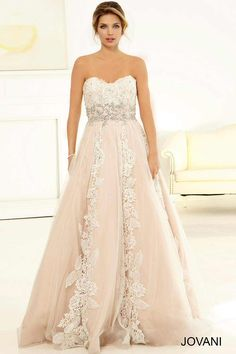 Radiant strapless empire waist A-line bridal gown features a sweetheart neckline and lace bodice