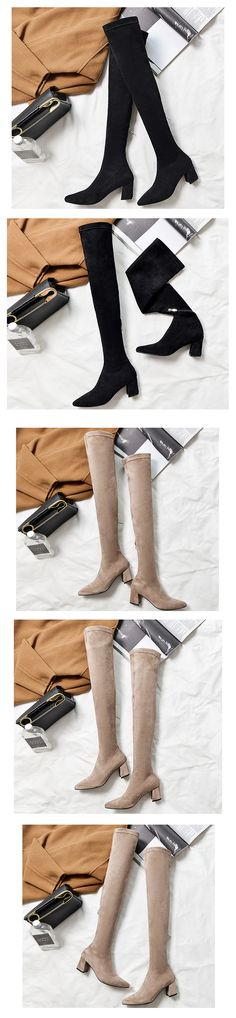 3310c25d02acd Handmade Suede Leather Block Heel Stretch over the Knee Boots