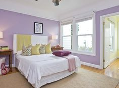 More ideas for base colors   Tamara Mack Design - lavender and yellow girls bedroom,