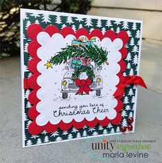 """BRAND NEW on the UNITY Website!  Created by Angie Blom. This kit contains4 stamps.  Love bug carrying tree and presents measures approximately 3"""" x 3"""".  """"sending you lots of Christmas Cheer"""" sentiment measures approximately .5"""" x 2.5"""".  """"Wishing you peace and happiness"""" sentiment measures approximately 1.25"""" x 1.25"""".  """"Oh, Christmas Tree"""" sentiment measures approximately .25"""" x 2.25"""".  All Unity Stamps are pre-cut, mounted on cling foam and ready to use right out of the package – you can…"""