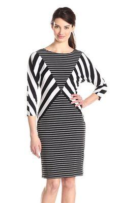 MSK Striped Sheath Dress with Three-Quarter Sleeves