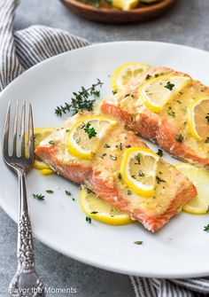 Easy Baked Lemon Dijon Salmon is tender, delicious oven baked salmon fillets that take only 5 minutes of prep and is on the table in 20 minutes! {GF} #baked #oven #salmon #lemon #dijon #mustard #glutenfree