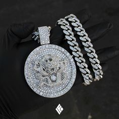Gold Chains For Men Custom Platinum Dragon Piece Fully Iced Out With VVS White Diamonds On Matching VVS White Diamond Cuban Link Chain. Custom made to order… - Luxury Jewelry, Custom Jewelry, Gold Jewelry, Jewelry Accessories, Jewelry Design, Chain Jewelry, Fine Jewelry, Jewellery, Versace