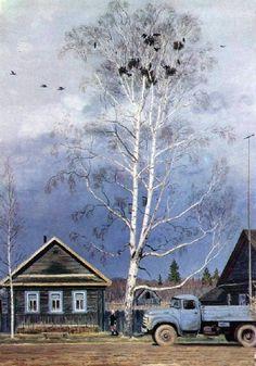 Кугач Юрий Петрович (Россия, 1917-2013) «Апрель в деревне»
