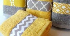 Bathroom. love yellow grey and white together. and love chevron and modern patterns to decorate the home.