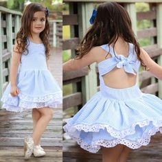 Girls' Clothing (Sizes 4 & Up) Toddler Kids Baby Girl Summer Clothes Stripe Lace Party Pageant Princess Dresses Girls Summer Outfits, Toddler Outfits, Kids Outfits, Summer Dresses, Summer Clothes, Summer Girls, Summer Days, Baby Dress, The Dress