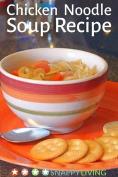 This recipe for homemade chicken noodle soup is so easy to make. It has a fresh, savory, home-cooked taste, and the total time to make it is only 30 minutes. It's hearty enough to be a one-dish meal. Chicken Noodle Soup, Soups And Stews, Soup Recipes, Noodles, Veggies, Homemade, Meals, Dishes, Cooking