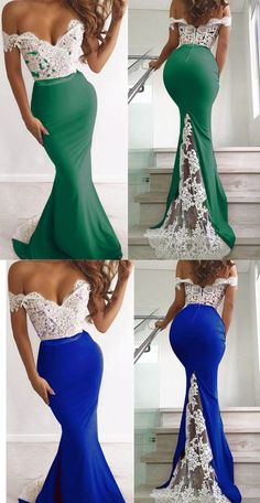Prom Dresses Ball Gown, Elegant Green and White Lace Mermaid Evening Gowns Long Off the Shoulder Women Party Dresses, from the ever-popular high-low prom dresses, to fun and flirty short prom dresses and elegant long prom gowns. Elegant Dresses For Women, Party Dresses For Women, Nice Dresses, Formal Dresses, Long Prom Gowns, Homecoming Dresses, Bridesmaid Dresses, Mermaid Evening Gown, Evening Dresses