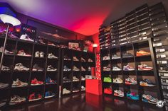 The very beginning stages of building my Nike Sneaker Collection Room. From Air Jordan& to Nike Air Maxes, I& started to organize the pairs. Shoe Room, Shoe Wall, Boys Bedroom Decor, Small Room Bedroom, Sneaker Collection, Shoe Collection, Sneaker Storage, Hypebeast Room, Reebok