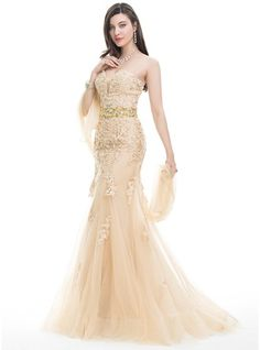 Trumpet/Mermaid Sweetheart Sweep Train Beading Sequins Zipper Up Strapless Sleeveless No Champagne Spring Summer Fall General Plus Tulle Lace US 2 / UK 6 / EU 32 Prom Dress