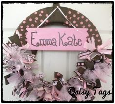Painted Wooden Long Sign added to Baby Wreath. $16.00, via Etsy.