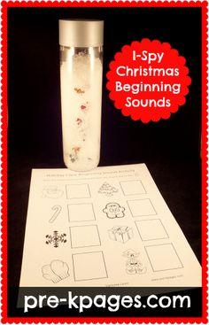 Christmas I-Spy Beginning Sounds Freebie Printable via www.pre-kpages.com