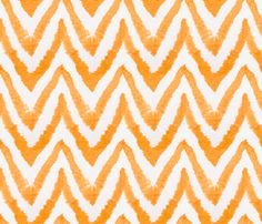 Tangerine Chevron Watercolor on Linen fabric by sparrowsong on Spoonflower - custom fabric