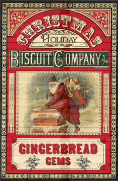 Vintage Victorian Christmas Gingerbread Digital Download Label Printable