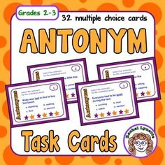 Antonym Task Cards: 32 FREE cards for practicing Antonyms - Grades 2-3Use these 32 multiple choice task cards to reinforce antonyms. A student answer sheet for students to record their answers is included along with an answer key for self-checking. There is also a Challenge Card that can be used in conjunction with any other card to extend the activity.