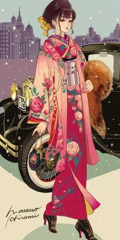 Illustration by Matsuo Hiromi Manga Girl, Girls Anime, Anime Art Girl, Japanese Theme, Japanese Art, Anime Kimono, Manga Illustration, Character Illustration, Kimono Design