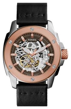 Fossil 'Modern Machine' Skeleton Dial Leather Strap Watch, 50mm