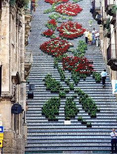 Beautiful steps from around the world   AnOther - {Floral steps in Sicily, Italy}