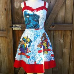 Xmen Pinup Dress with Red Collar Upcycled OOAK by BongaChopShop, $150.00