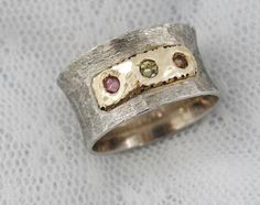 Sterling silver and gold tricolor tourmaline ring by MayaOr