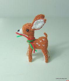 Mini fawn- Crochet stuffed animal - Amigurumi miniature. $25.00, via Etsy.