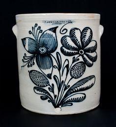 Important F. STETZENMEYER. / ROCHESTER, NY Six-Gallon Stoneware Crock w/ Profuse Floral Decoration -- Lot 268 --Crocker Farm.