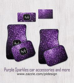 Personalize Beautiful Purple glitter sparkles car mats set, license plate, car flag and more by #PLdesign #PurpleSparkles #SparklesGift #style @zazzle