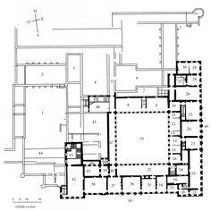 Plan des appartements officiels du château de Hampton Court, premier étage, le nouveau bâtiment, 1689-1694 (architecte: Sir Christopher Wren).