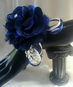 Ladies wrist corsage. Navy Blue & Ivory.Pearls & satin Flower.Wedding, Prom