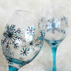 Hand Painted Wine Glasses, Wedding Glasses,Anniversary Glasses, Snowflake design £30.00