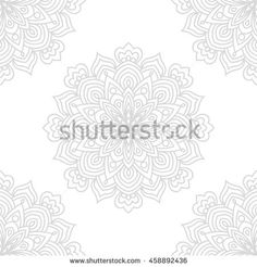 Gray and  white fantasy seamless pattern with ornamental round doodle flower isolated on white background. Black outline mandala. Geometric circle element wallpaper. Vector illustration.