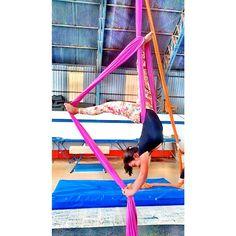 New aerial silk trick, pink silk..