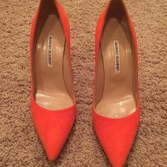 Manolo blahnik suede pump Worn once! Orange suede Manolo Blahnik pump Manolo Blahnik Shoes Heels