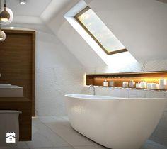 łazienka na poddaszu - Mała łazienka na poddaszu jako salon kąpielowy, styl nowoczesny - zdjęcie od AVE ARCHITEKCI Malaga, Dom, Bathtub, Bathroom, Houses, Drawing Rooms, Attic Spaces, Standing Bath, Bath Room