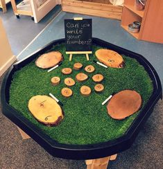 A lovely tuff tray using our wipe clean wooden slices, by Maths Eyfs, Eyfs Classroom, Literacy And Numeracy, Eyfs Activities, Nursery Activities, Classroom Displays, Eyfs Outdoor Area, Maths Display, Early Years Classroom