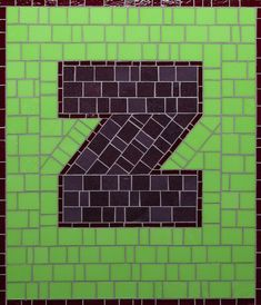 Mosaic Letter Z - The Tieton Alphabet  Tieton Mosaic is a mosaic sign company in Tieton, WA specializing in typographic glass mosaic signage