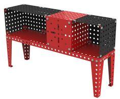 Buffet / L 140 cm Rouge & noir - Meccano Home