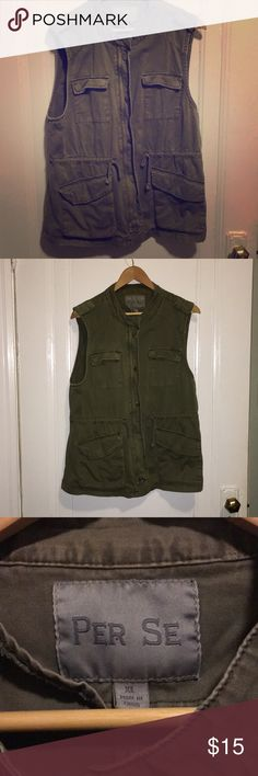 Utility Vest | XL | olive green Olive green military style utility vest. Zipper and snap closure, string waste and large pockets. Brand is Per Se, I got this either at TJ Maxx or Marshalls. Lightly worn/loved. Marshalls Other
