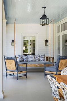 Looking for Outdoor Space and Porch ideas? Browse Outdoor Space and Porch images for decor, layout, furniture, and storage inspiration from HGTV. Porch Lighting, Exterior Lighting, Living Room Lighting, Lighting Ideas, Ceiling Lighting, Backyard Lighting, House Lighting, Farmhouse Porch Swings, Cottage Front Doors