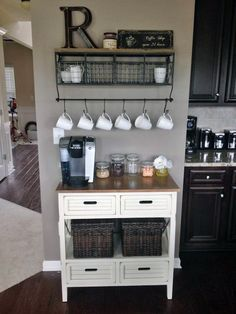 Learn how to build your own Coffee Station at Work Diy Home Decor For Apartments, First Apartment Decorating, Diy Apartment Decor, Apartment Kitchen, Apartment Therapy, Apartment Ideas, Studio Apartment, Apartment Design, Apartments Decorating