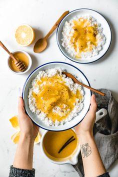 Nordic rice pudding with spiced orange sauce & vanilla