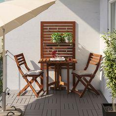 ÄPPLARÖ Gateleg table for wall, outdoor, brown stained - IKEA Ikea Outdoor, Outdoor Living, Outdoor Decor, Ikea Patio, Outdoor Tiles, Small Balcony Design, Small Balcony Decor, Small Patio, Small Balcony Furniture
