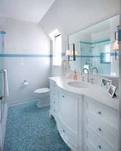 White bathroom with blue penny tile floor. Kids White bathroom with blue penny…