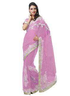 Light Pink Net Border Saree