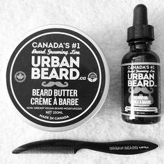 Urban Beard's finest beard butter and assortments: beard oil and comb.
